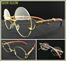 Men's Classy Elegant Retro Style Round Clear Lens EYE GLASSES Gold & Wood Frame
