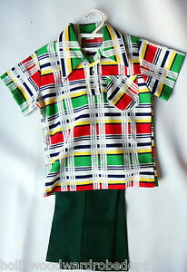 70s polyester disco vintage NEW plaid kid 5 6 year old green shirt pant set
