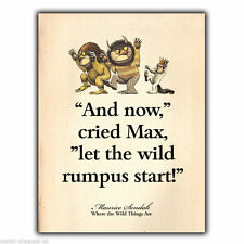 Metal Sign Wall Plaque Where the Wild Things Are Citation Imprimé Enfants Chambre à coucher