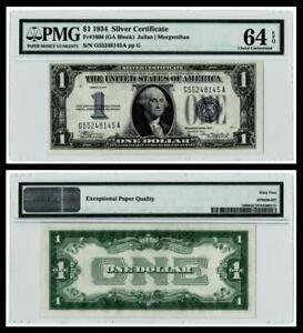 1934 $1 SILVER CERTIFICATE NOTE~~FR.#1606 (GA BLOCK) PMG CH UNC 64EPQ