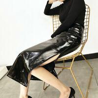 Damenmode Hohe Taille Glitzer Lederröcke Kunstleder Bleistiftrock 2XL Sexy Club
