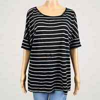 Vince Black Oatmeal Stripe Linen Scoop Neck Tunic Shirt Top LARGE Dolman Sleeves