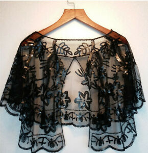 Ladies 1920s Gatsby Shawl Wraps Sequins Evening Cape Bolero Bridal Flapper Retro