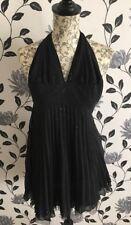 Gorgeous Women's Lipsy Black Pleated Halter Neck Dress Size 8 UK BNWT