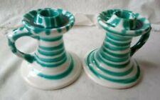 1 Paar alte Kerzenständer 2 Stk. Gmundner Keramik grün geflammt  H 10 cm (A1299)