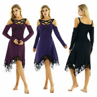 Women Vintage Steampunk Gothic Off Shoulder Long Sleeves Irregular Midi Dress
