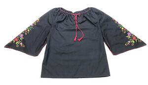 Hungarian Peasant Blouse, Vintage, Hand Embroidered M/L Black Hippie Boho
