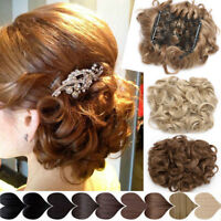 Comb Clip In Real Bun Wave Curly Hair Piece Chignon Updo Cover Hair Extension US