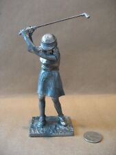 """A vintage 1985 6"""" tall Michael Ricker Pewter sculpture depicting a Lady Golfer"""