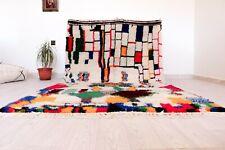 "Authentic Moroccan White Rug Handmade Berber Boujaad 4'6""x8'2"" Tribal Wool Rug"