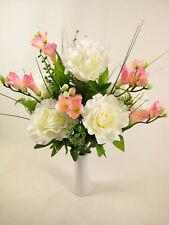 Artificial Silk Flowers Cream Rose Pink Freesia Onion Grass Bush Arrangement