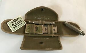 Vintage Razor--Gillette Khaki Razor Set--Property of U.S. Army--With Blades
