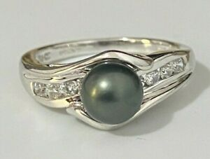 Solid 14ct Gold W/ Black Pearl & CZ Stones Ring 3.90g size O 1/2 -  7 1/4