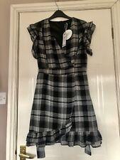 BNWT BOOHOO CHECK MOCK WRAP DRESS FRILL SLEEVE SZ 10