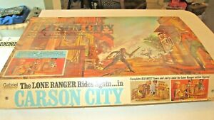 Vintage Gabriel Lone Ranger Carson City Playset with Lone Ranger and Tonto Dolls