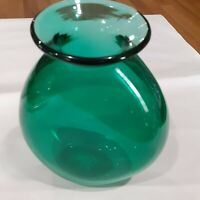 Mystery Artist -  Hand Blown Green Glass Vase (Signed & Dated)