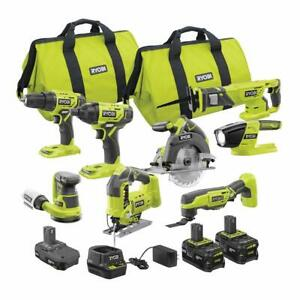 RYOBI Combo Kit 18-Volt Lithium-Ion Cordless Brushed Charger Battery (8-Tool)