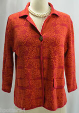 Chicos Colorful tribal geo Sweater Button 3/4 Slv Cardigan Coat knit Top Chico 1