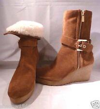 NIB MICHAEL KORS LIZZIE Wedge Boots Dark Caramel Suede Size 8