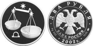 2 Rubles Russia 1/2 oz Silver 2002 Zodiac / Libra Waage 秤 Proof