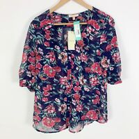 NWT Stitch Fix Skies are Blue Floral Lightweight Top Blouse Size Large