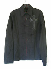 *Lip Service Wovens Black & Plaid Cross Button up Tuxedo Collar Shirt guys S