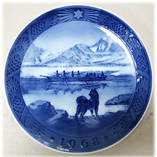 Royal Copenhagen Blue Christmas Plate 1968 Kai Lange The Last Umiak 7""