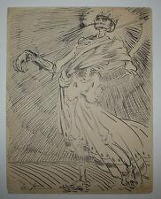 Louis JOU - (LA MORT) - DESSIN original à l'encre - SIGNE - ALLEGORIE- VANITÉ..