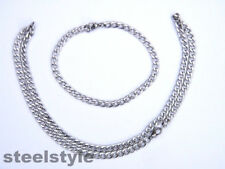 MEN'S LINK CHAIN  NECKLACE AND BRACELET STAINESS STEEL 316L BRAIDED SET