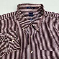 Arrow Button Up Dress Shirt Mens 18-18.5 Long Sleeve Maroon White Striped Casual
