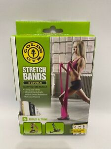 Gold's Gym Stretch Bands 3 Levels w/ Exercise Chart Home Gym Work Out New in Box
