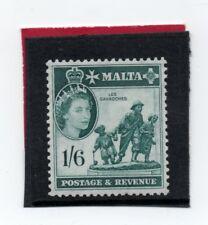 Malta  QE2 1956-5 1s.6d deep turquoise green sg 277 HH.Mint