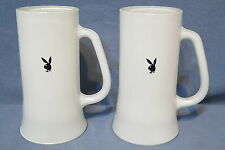 "Vintage Pair of Playboy Bunny Black Logo White Glass Mugs or Steins Heavy 6 3/8"""