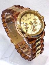 Tortoise Gold Geneva Acrylic Bracelet Bezel Women's Watch Chronograph Boyfriend