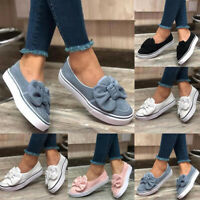 Women Bowknot Slip On Flats Ladies Walking Pumps Shoes Casual Loafers Comfort