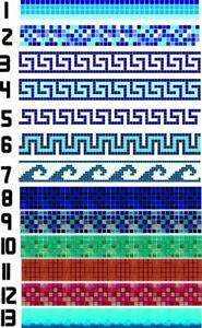 Swimming Pool Border Liners. 50 METERS LONG Decorative Underwater Decals/Stripes