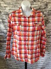 Beverly Hills Polo Club Women's Shirt Size Large Plaid Pink Orange Tinsel B1
