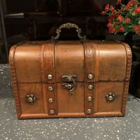 Antique Style Rustic Wooden Jewellery Trinket Box Treasure Chest Keepsake Box