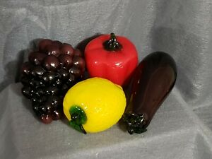 Vintage 4 Piece Murano Style Hand Blown Glass Fruits & Vegetables