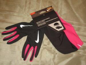 Nike Women's Black/Pink Running DRI-FIT  Beanie/Glove Set NRC01067 Sz:XS
