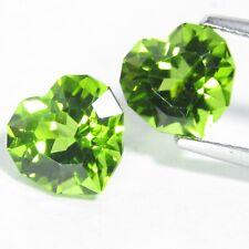 6.60Cts Magnificent  Green Natural Heart Custom Cut Peridot Matching Pair VIDEO