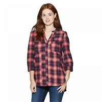 nWT Knox Rose Women's Plaid 3/4 Sleeve V-Neck Button-Down Shirt With Seaming
