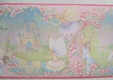 "FAIRIES CASTLE UNICORNS GIRL'S ROOM Wall Border 10 1/4"" pink"