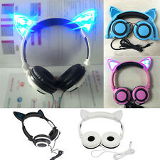 Cute Creative LED Cat Ears Headset Folding LED Headphones For PC Phone stereo