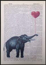 Vintage Elefant rot Herz Motiv Antik Wörterbuch Seite Wandkunst Bild Liebe