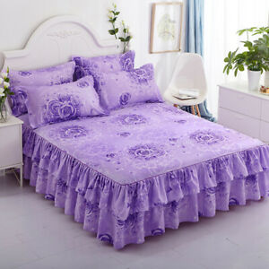 Home Floral Bed Skirt /Pillowcase Double Dust Ruffle Elegant Bed Sheet Bedspread