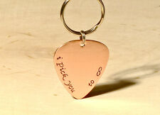 Copper guitar pick keyring