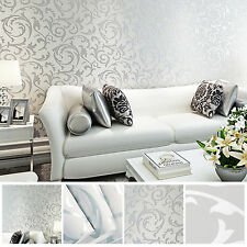 3D Victorian Damask Silver Embossed Rolls Bedroom TV Background Wallpaper Decor