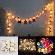 Newest Room 20 Rattan Ball LED Light String Fairy Lamp Wedding Party Xmas Decor