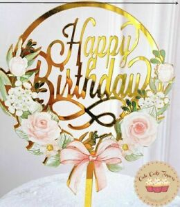⭐New Acrylic Gold Flower Roses Cake Topper for Happy Birthday Cake Decoration ⭐